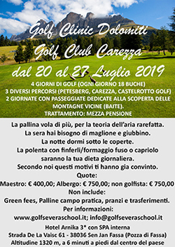 Golf Clinic Carezza estate 2019